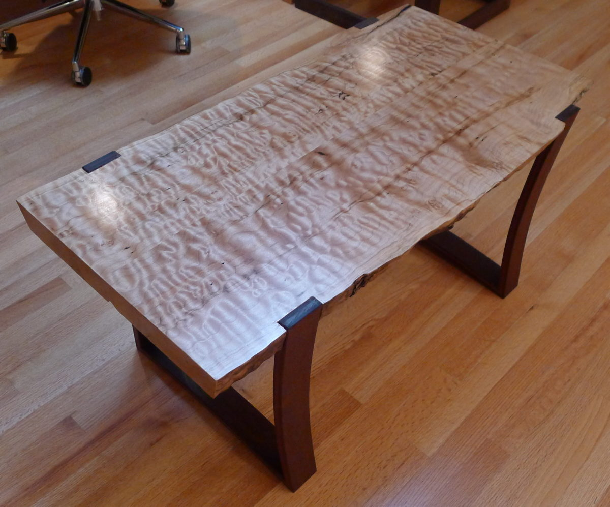 Fine Woodworking End Table Plans: Live Edge Curly Maple Slab Coffee Table With Curved Ipe
