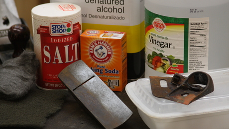 use salt, vinegar, baking soda, and alcohol to remove rust and clean up an antique handplane