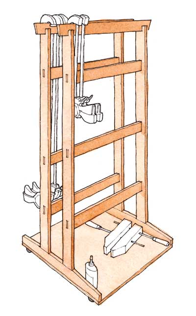 Free Plan Krenovian Clamp Rack On Wheels Finewoodworking