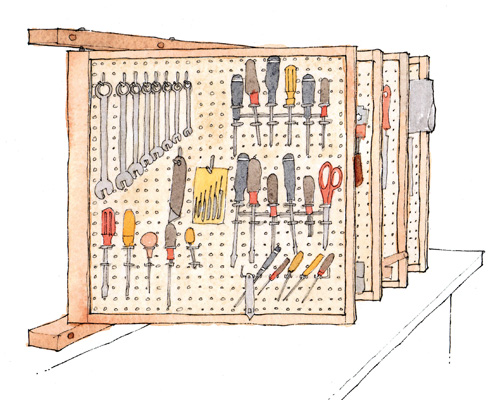 Free Plan Space Saving Tool Rack Finewoodworking