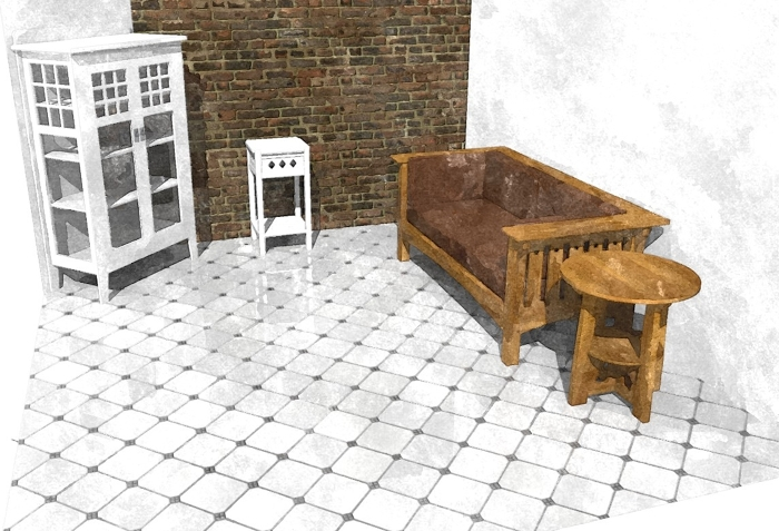 A Tiled Floor Creating A Material In SketchUp FineWoodworking - Create tiled image
