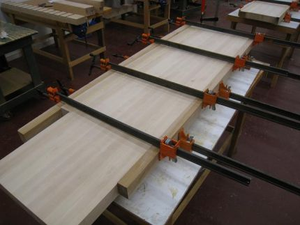 This is the first glue-up of my wider top which will not have a tool tray.