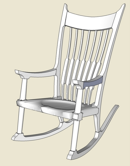 Outstanding Maloof Rocker Roughing Into Sketchup Finewoodworking Pdpeps Interior Chair Design Pdpepsorg