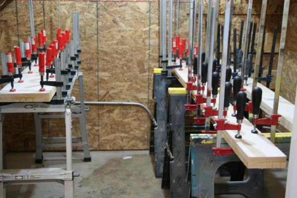 lamination glue up with lots of clamps