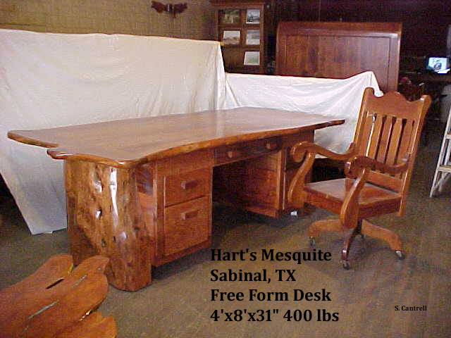 Massive Desk Handcrafted Of Texas Mesquite By Gary Hart