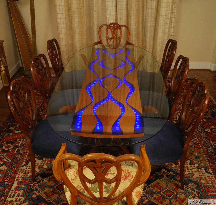 Quot Pearls Of Wisdom Quot Dining Table Mahogany Inlaid Dyed