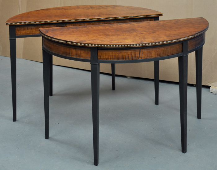 Exceptionnel The Nearly Completed Pair Of Half Oval Tables