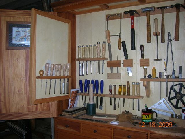 workshop cabinets purpleheart work bench and mahagony tool cabinet 29491