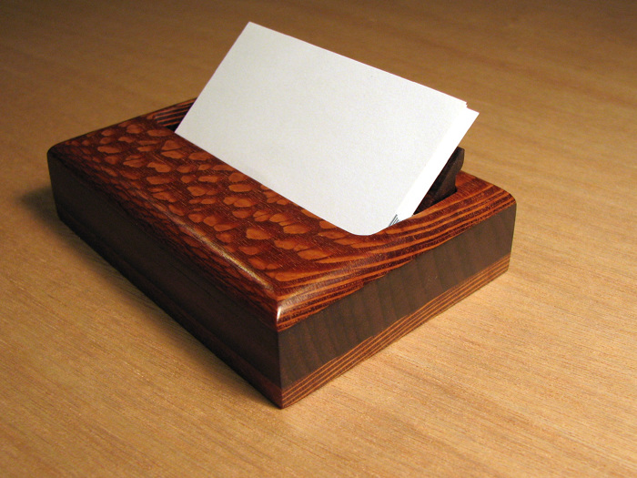 Business card holder finewoodworking i utilized some scrap pieces of leopardwood and rosewood to make a business card holder for my desk i used the rosewood for the core between two slices of colourmoves