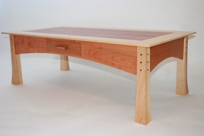 This Coffee Table Is Made Of Bloodwood, Cherry And Eastern Maple. The  Drawer Was Handcut.