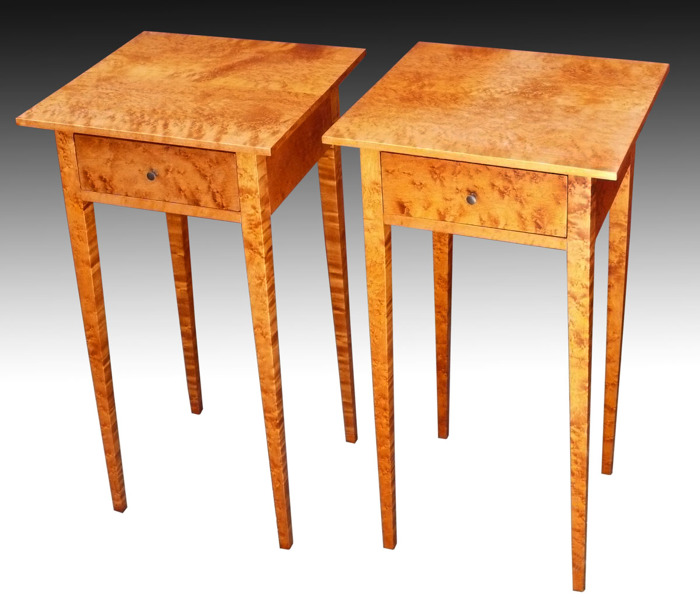 Bed Side Tables. The Tops Are Tapered Underneath To Thin The Edges.  Birdseye Maple Is Colored With Water Based Aniline Dye And Finished With  Gel Varnish, ...
