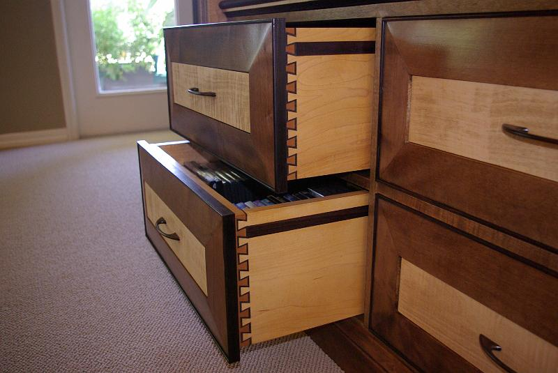 Maple Walnut And Ebony Inlaid Dovetail Drawers