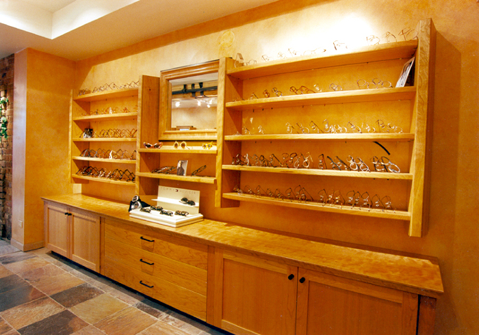 Cherry Cabinets And Display Shelves