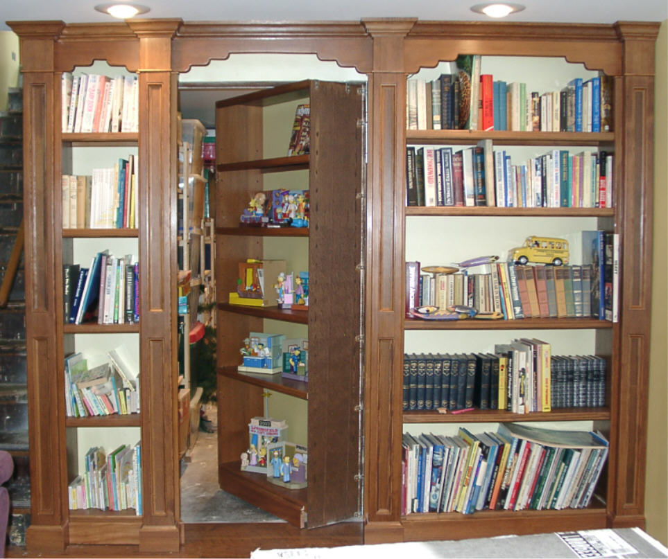 version titled build pictures to step how hidden secret door steps with a bookshelf image