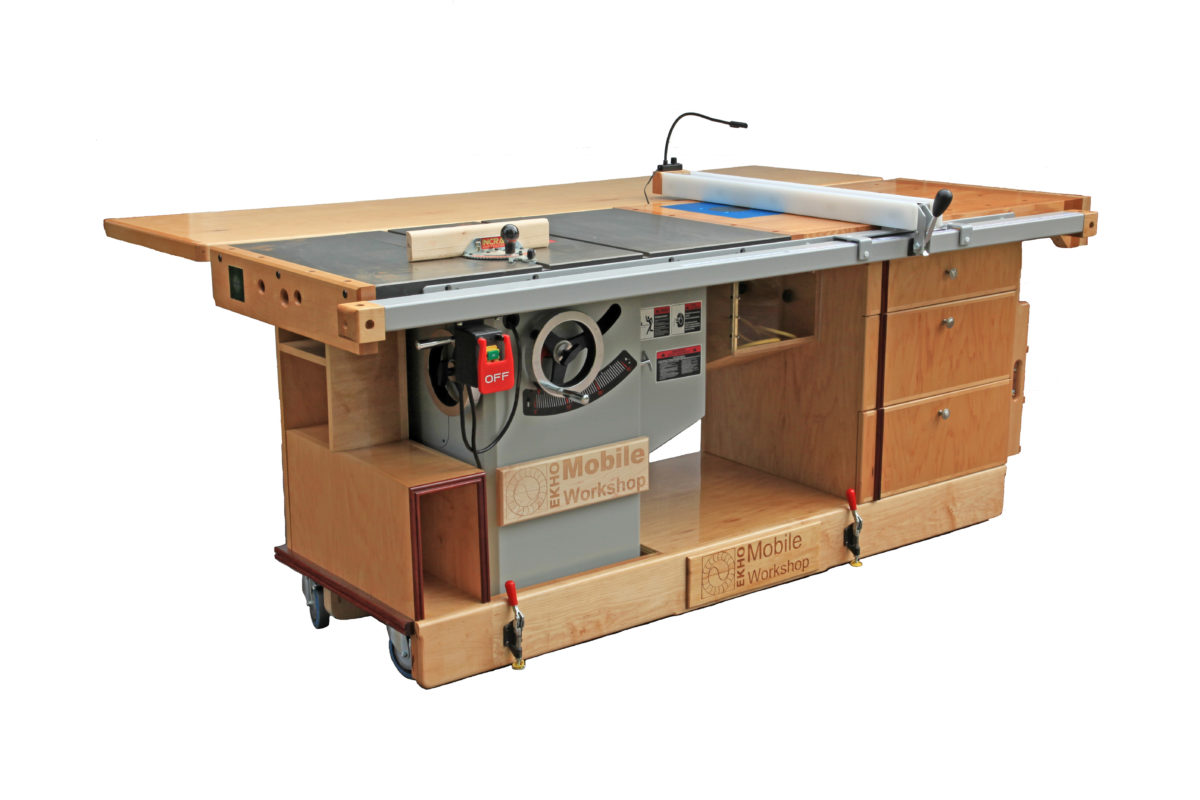 Ekho mobile workshop portable cabinet saw work bench for Router work table