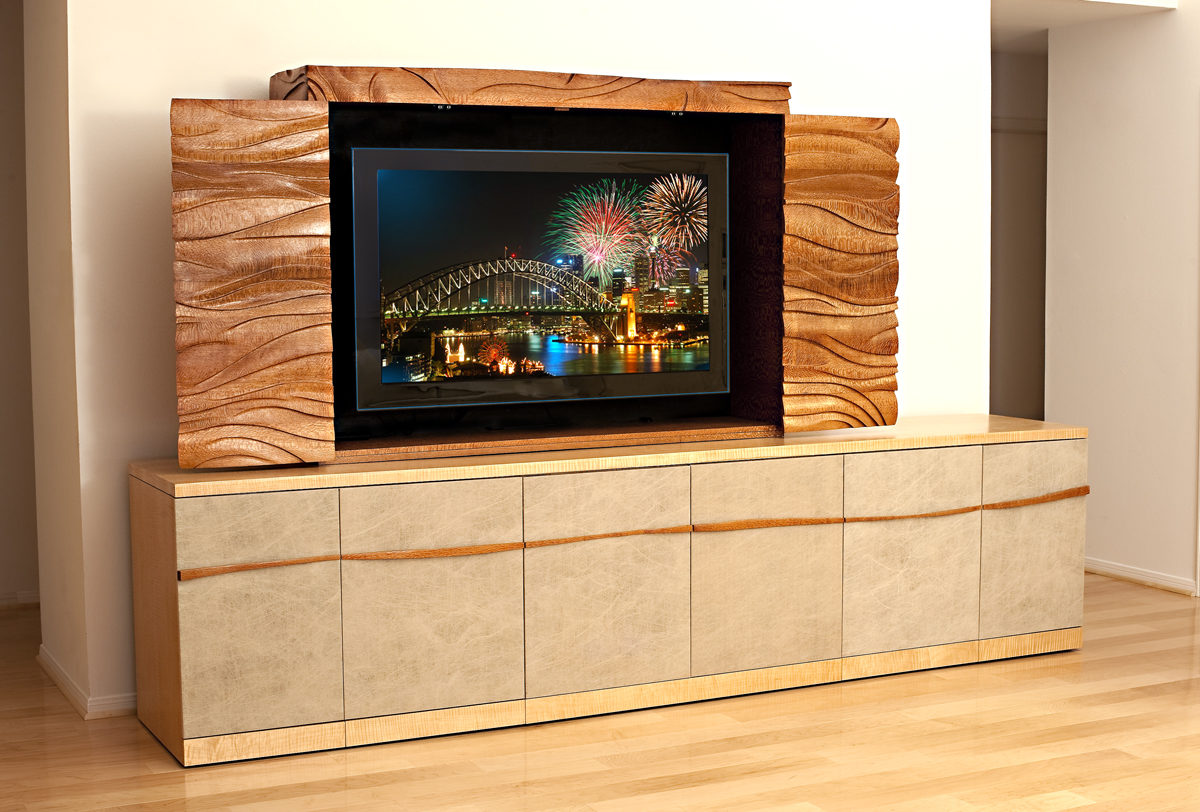 Lacewood And Tiger Maple Entertainment Cabinet