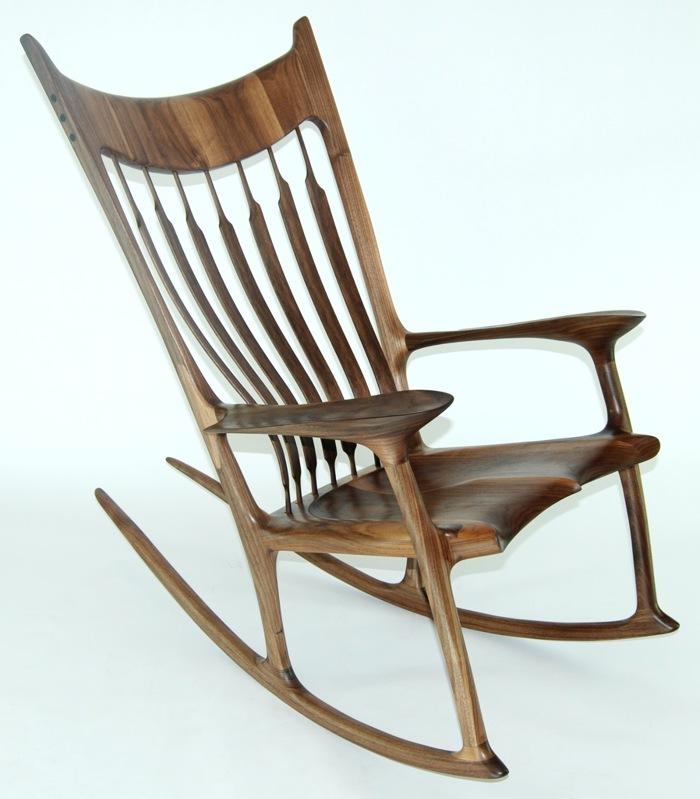 Merveilleux Walnut And Zebrawood Rocking Chair