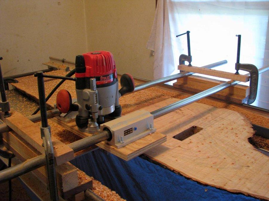 Router Jig To Flattten Large Slabs - FineWoodworking