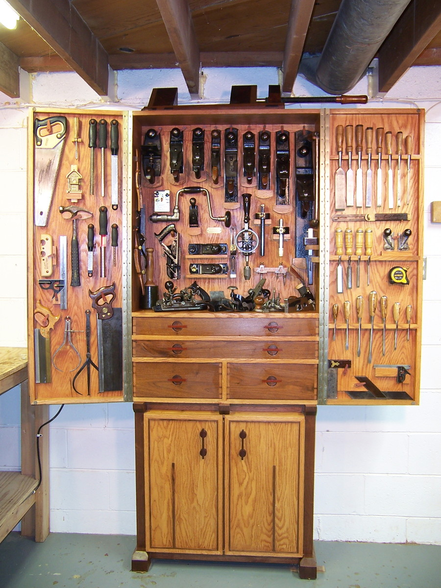 Red Oak And Walnut Tool Cabinet