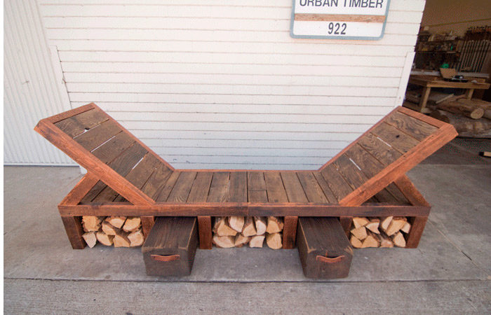 Outdoor bench for a client who wanted to maximize space. The frame is Douglas fir and the slats are redwood fence boards.
