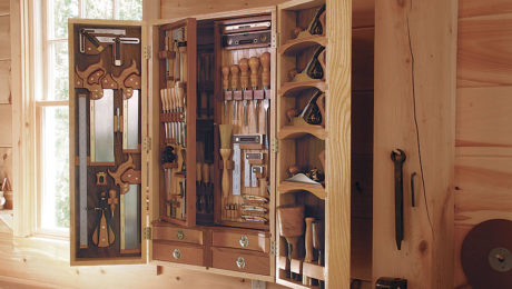 woodworking storage in small hung tool cabinet