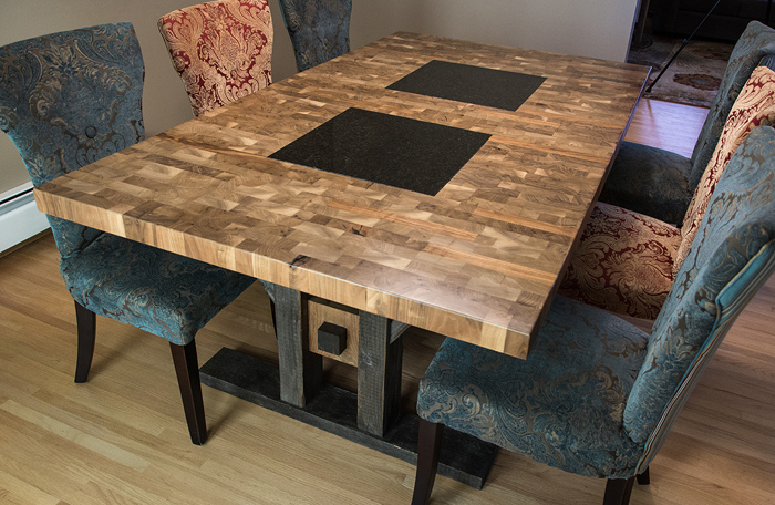 High Quality Endgrained Dining Table: This Custom End Grain Butcher Block Dining Table  Is Made From Solid Walnut.