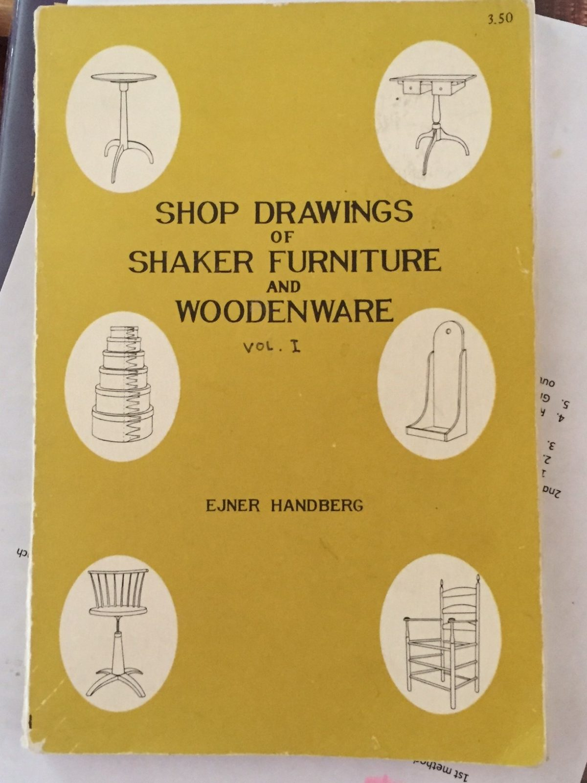 The design and dimensions come from this gem of a book, Shop Drawings of Shaker Furniture and Woodenware by Ejner Handberg. I placed an order for my own copy as soon as Chris showed it to me.