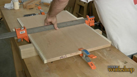 Panel glue-ups using a spring joint