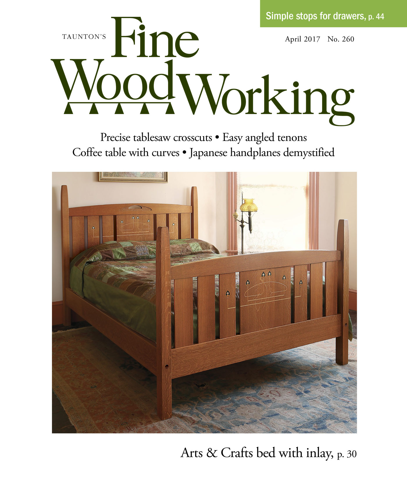 Easy angled tenons finewoodworking for Arts and crafts bed plans