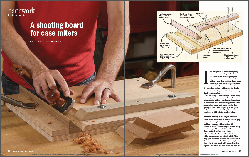 A shooting board for case miters spread
