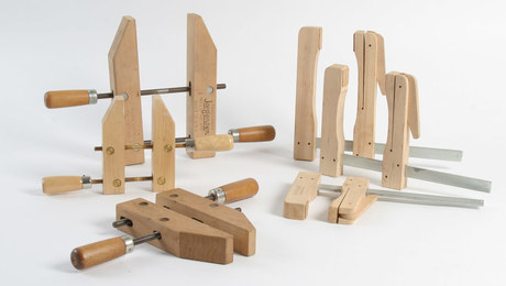 Tips and uses for wooden clamps, including hand screws and cam clamps
