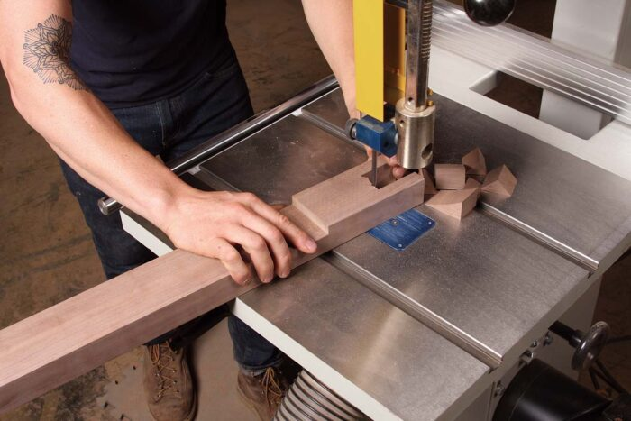 Then cut out the center waste on the bandsaw