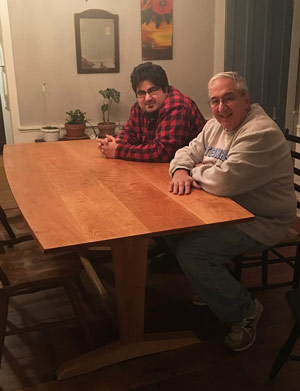 Recently Dad helped me on the glue up for my version of Daniel Chaffin's trestle table.