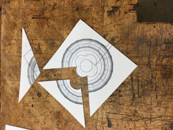 Cutting full size templates to shape the scratch stock