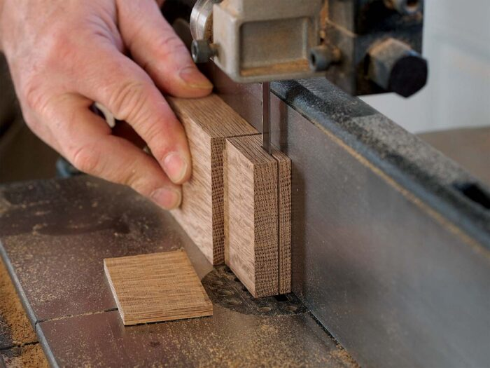 Then cut the tenon to fit. Establish the shoulders at the tablesaw, then cut the tenon cheeks at the bandsaw, using test pieces to set the fence precisely