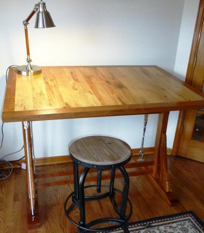 1920u0027s French Style Drafting Table With Nautical Rigging