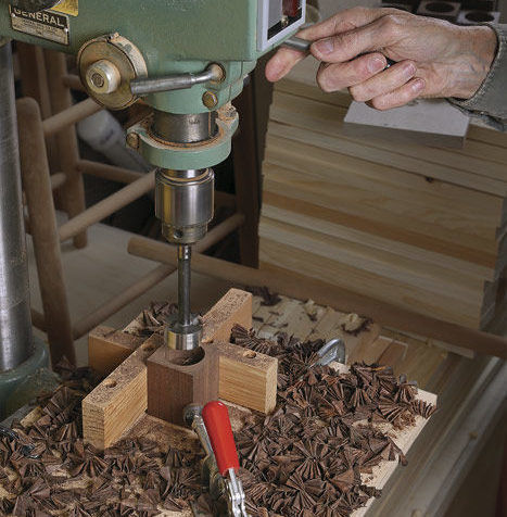 Then take the parts to the drill press.