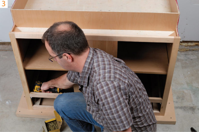 3) Flip the cabinet and mount the top