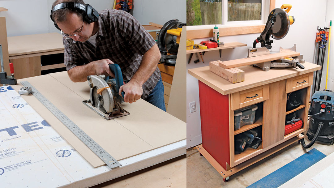 Turn a reclaimed cabinet into a rolling workstation - FineWoodworking