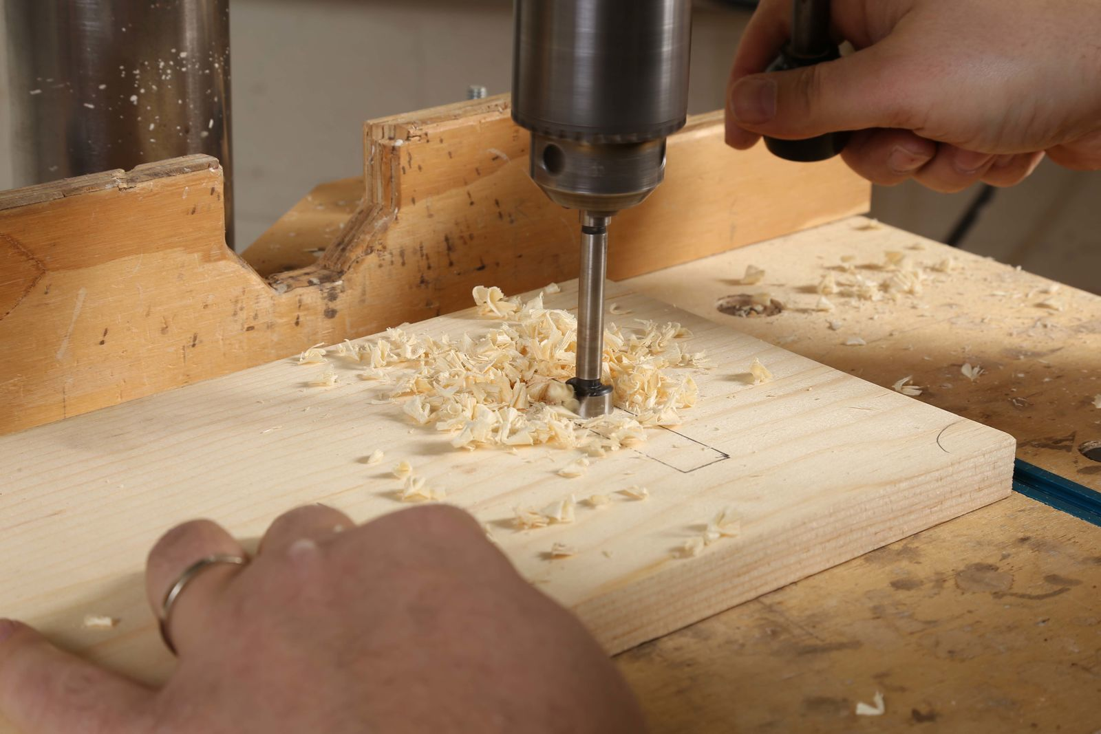 drill press to hog out mortise