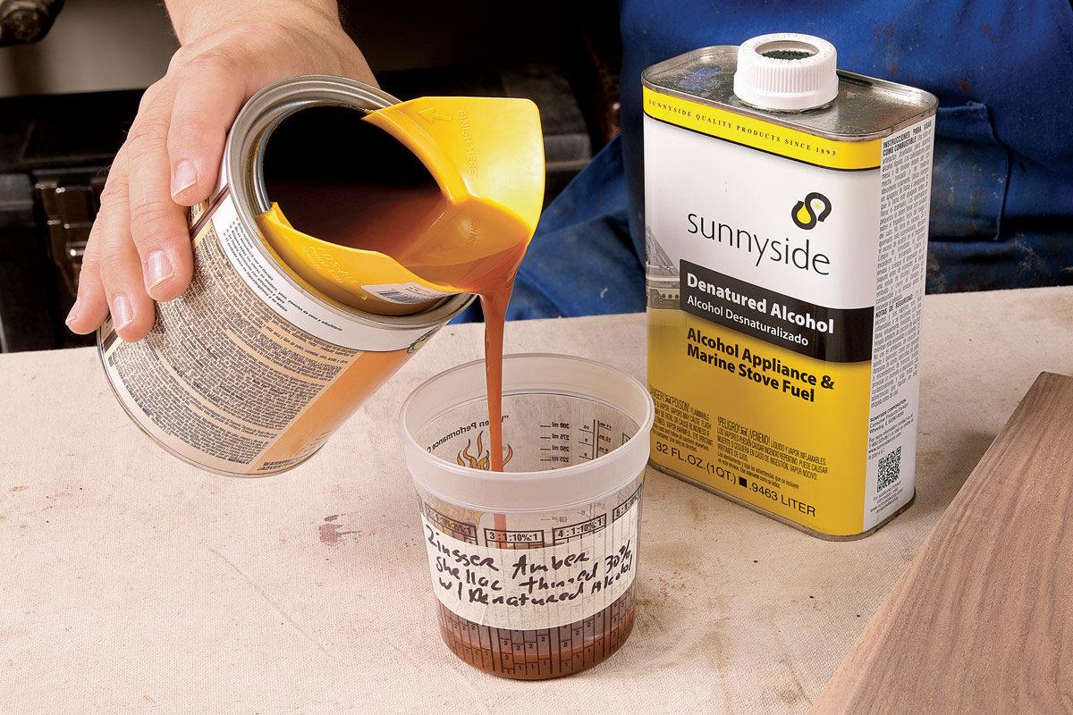 using amber shellac for a walnut finish