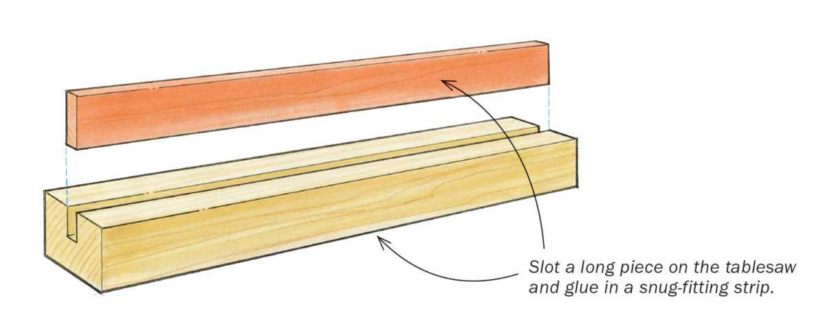 Slot a long piece on the tablesaw and glue in a snug-fitting strip.