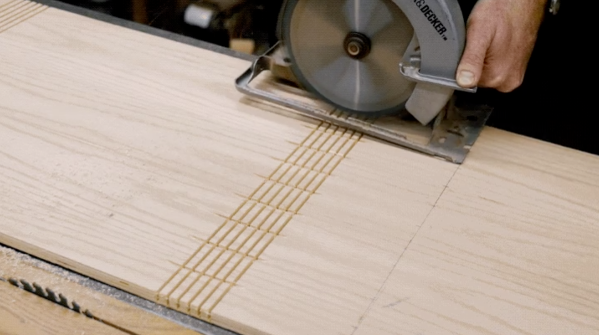 bending plywood - kerf bent ottoman covers - cutting kerfs for splines