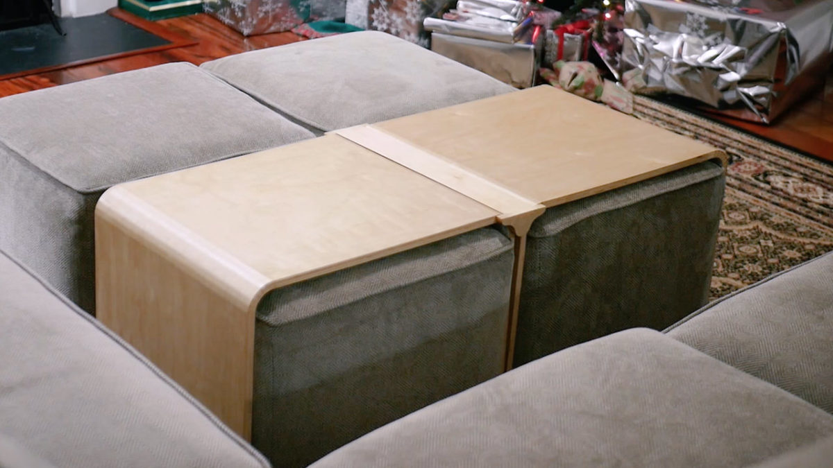 bending plywood - kerf bent ottoman covers