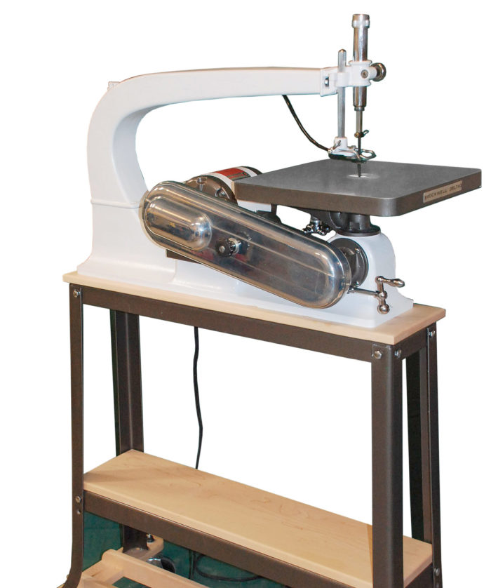 1968 Delta/Rockwell Scrollsaw after refurbishing; vintage machinery; old machine rehab resources; before and after photos