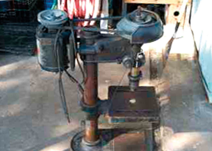 1936 Delta Drill Press before refurbishing; vintage machinery; old machine rehab resources; before and after photos