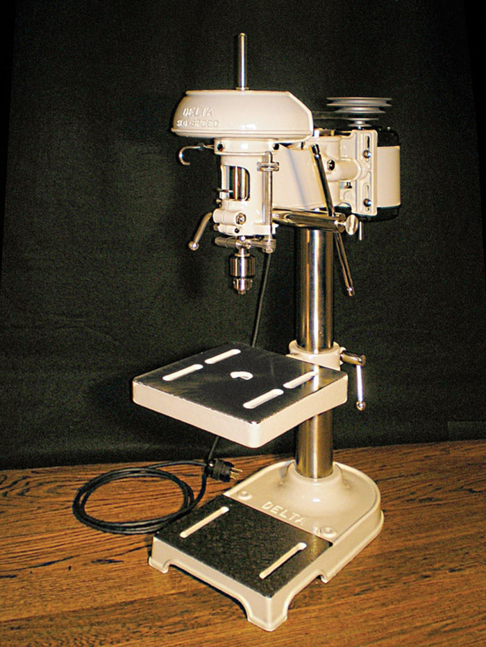 1936 Delta Drill Press after refurbishing; vintage machinery; old machine rehab resources; before and after photos