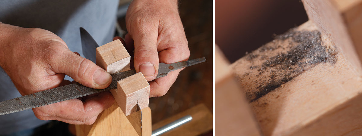 Peter Galbert sharpening a curved scraper