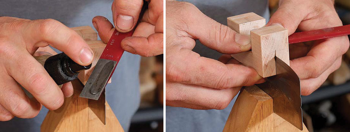 Using a diamond hone to sharpen a card scraper