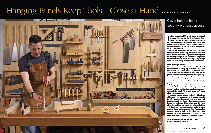 Hand tools are kept close at hand with hanging panels spread
